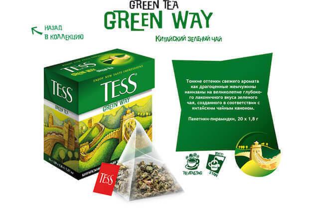 Пачка зеленого чая Тесс