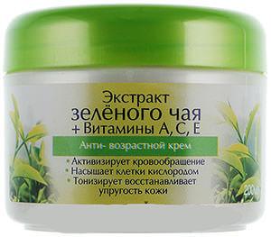 Экстракт зеленого чая в сочетании с витаминами А, С, Е используют в косметологии